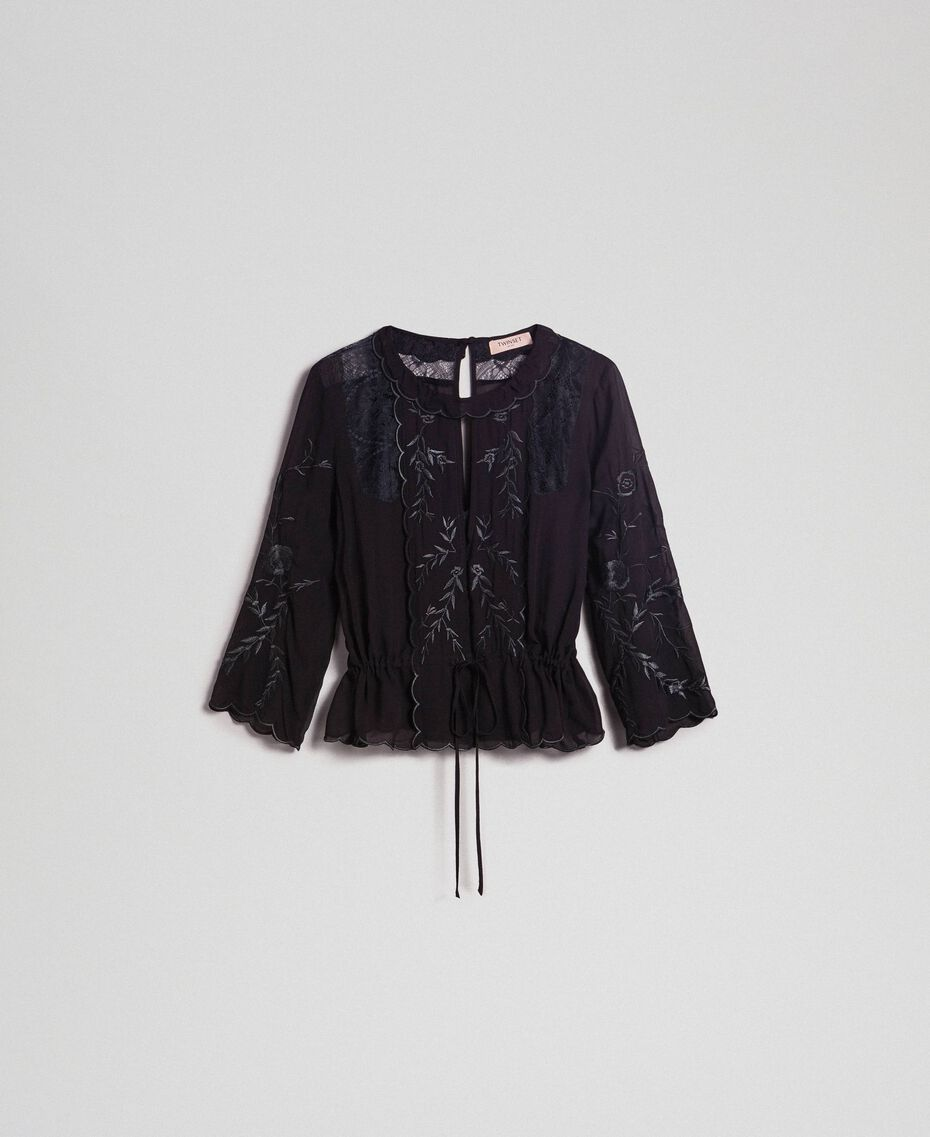 Georgette blouse with embroidery Black Woman 192TP2341-0S