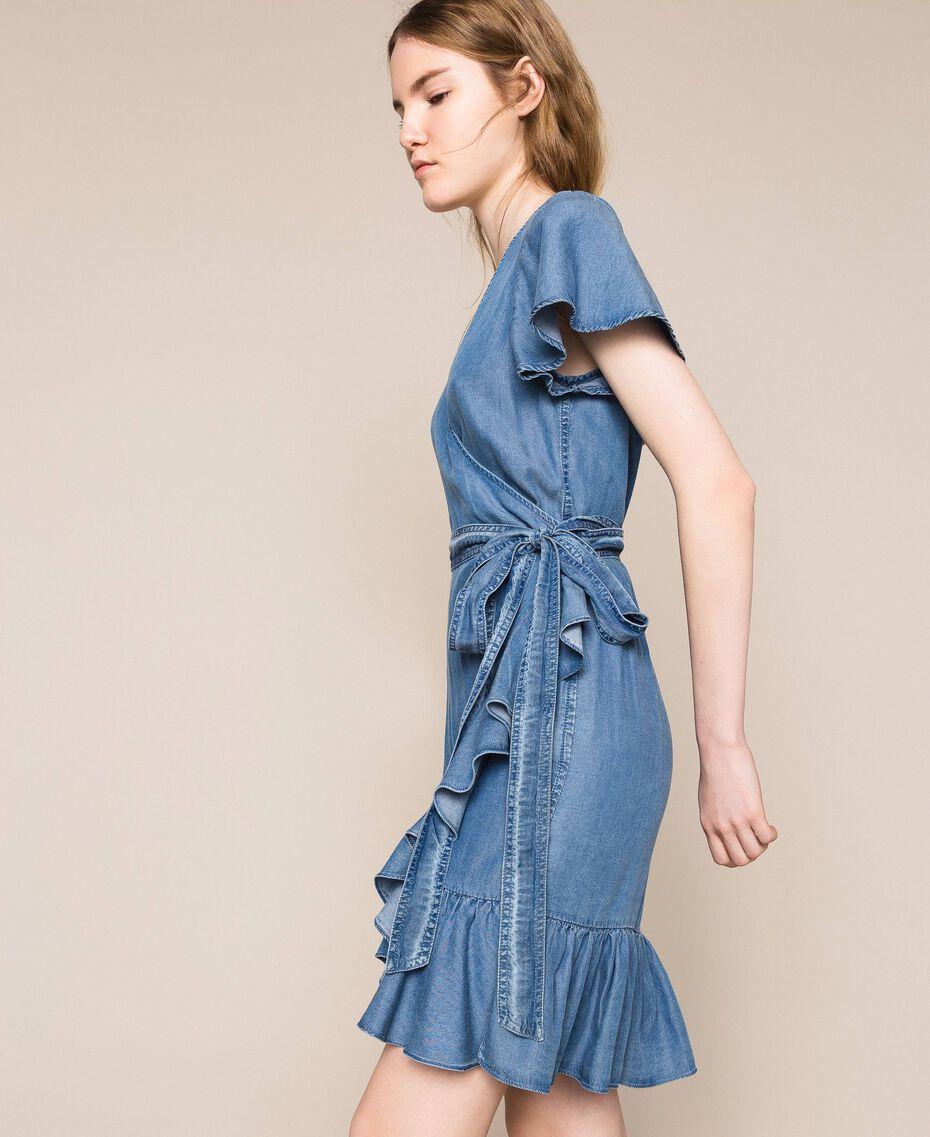 Flowing denim dress with flounce Denim Blue Woman 201MT2193-02