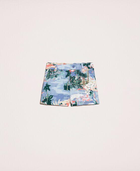 Shorts aus Leinenmischung mit Print
