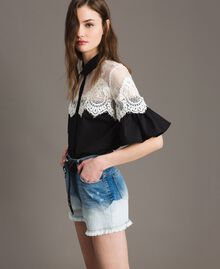 Dip-dye denim shorts with floral patch Bleached Shades Woman 191TT2052-02