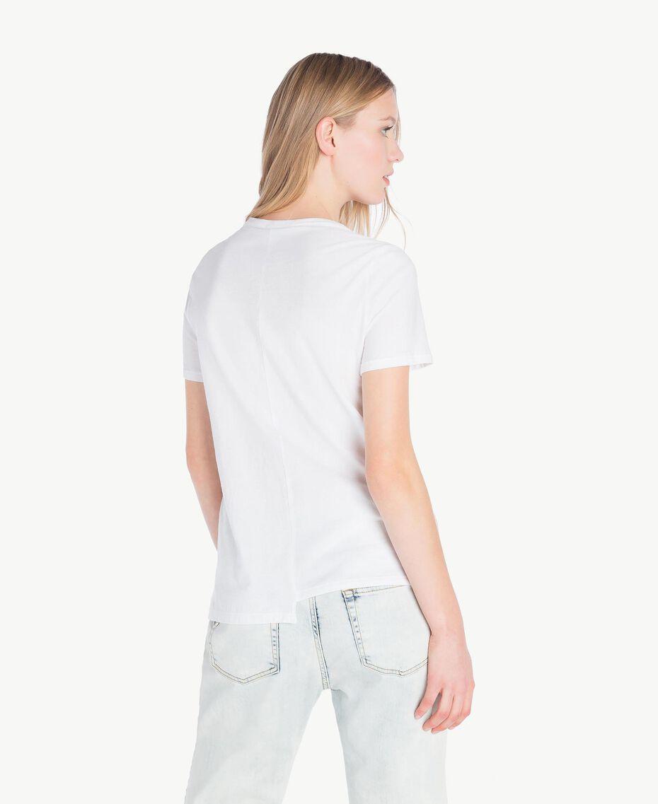 T-Shirt mit Pailletten Zweifarbig Optisches Weiß / Rosé-Organza Frau YS823H-03