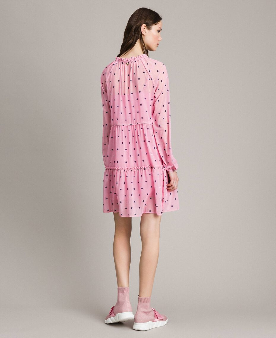 Georgette polka dot dress with flounces Hydrangea Pink Heart Polka Dot Print Woman 191MP2336-03