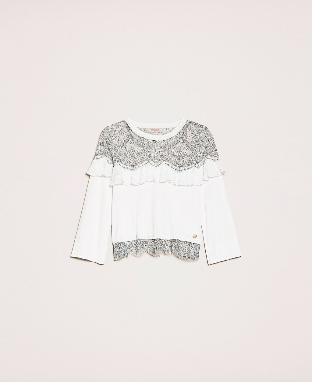 Jumper with two-tone lace and pleats