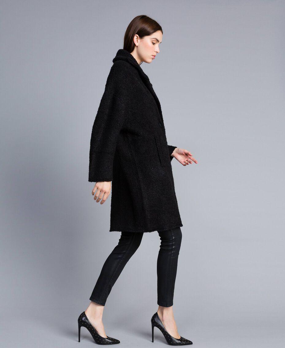 Bouclé coat Black Woman SA83CA-02