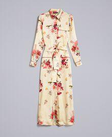 "Langes Hemdblusenkleid aus geblümtem Satin Print ""Tea Garden"" Rosa Frau PA829S-0S"