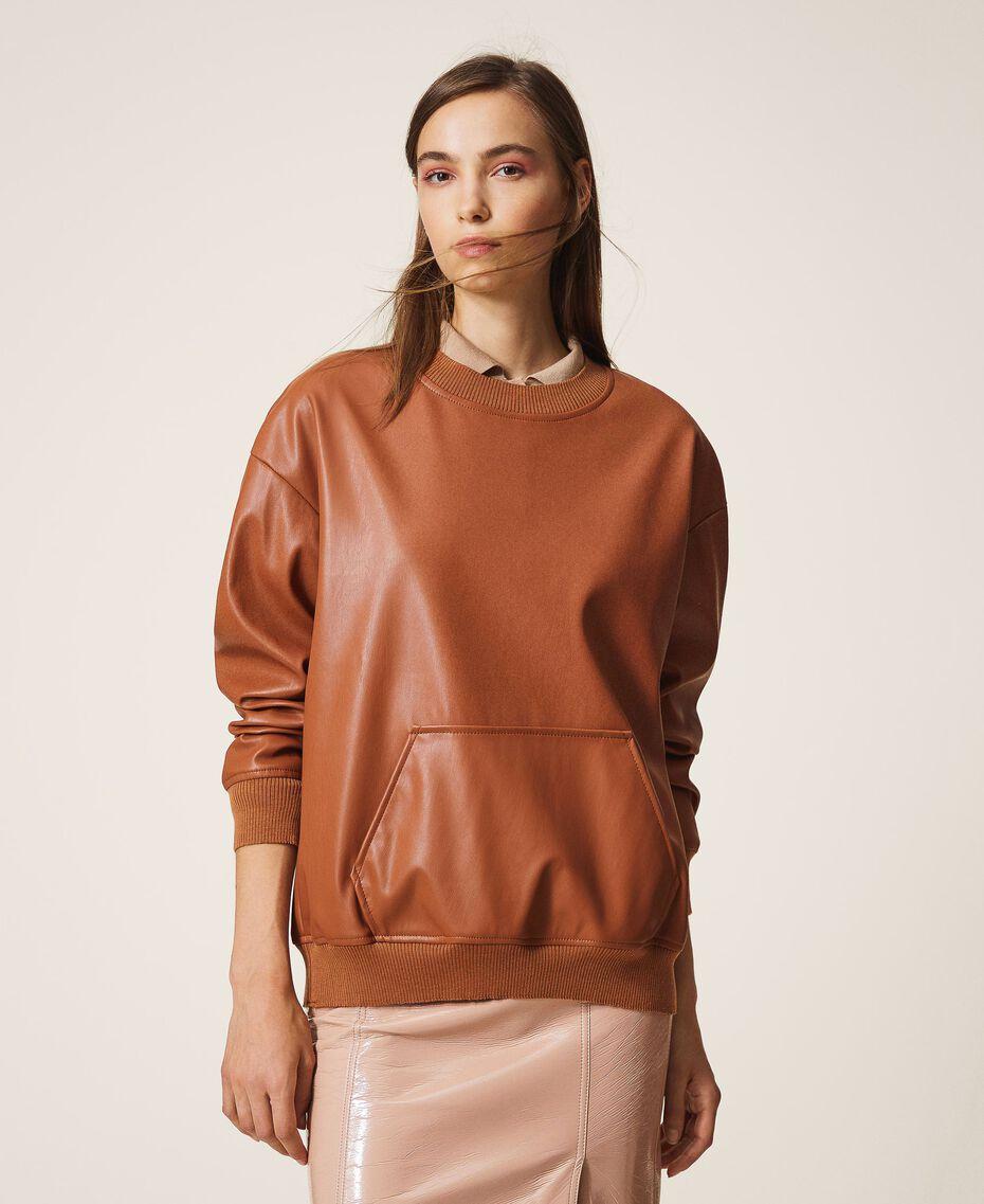 Sweatshirt aus Lederimitat Terrakottarot Frau 202LI2GCC-01