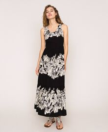 Robe longue en popeline florale Imprimé Fleur Graphique Noir Femme 201TT2313-02