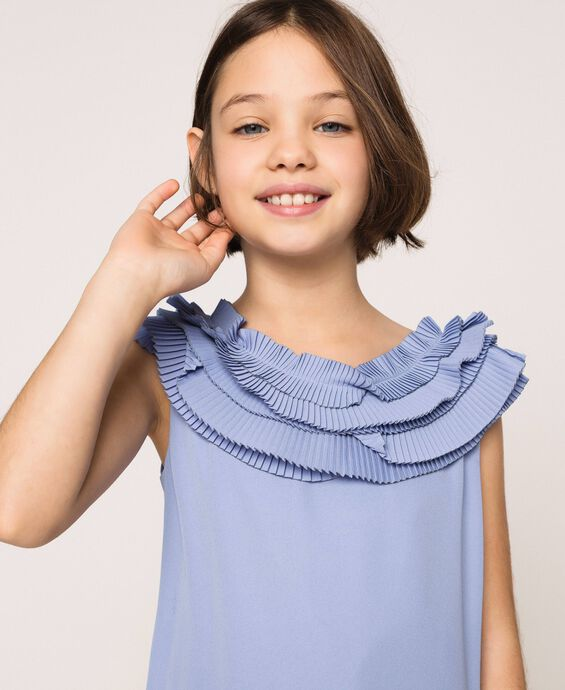 Georgette dress with pleated ruffles