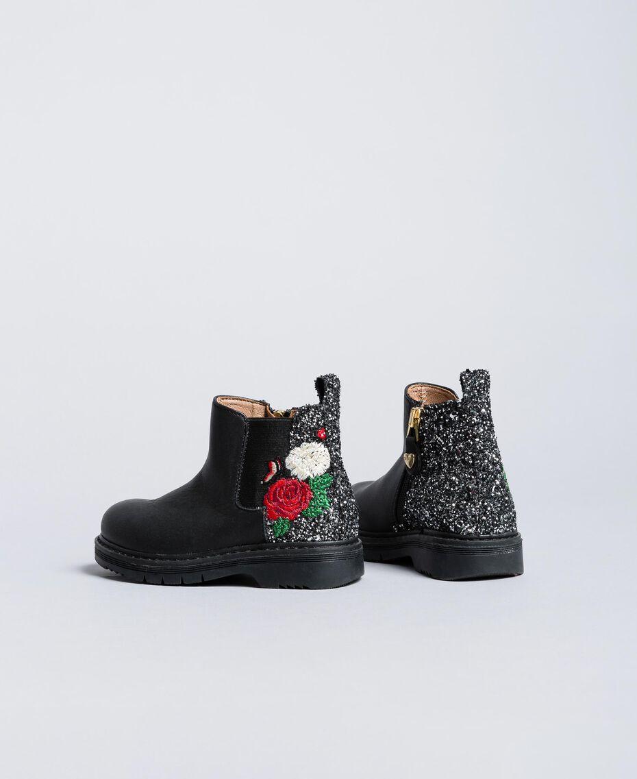 Embroidered leather beatles Bicolour Black / Silver Glitter Child HA86C1-03