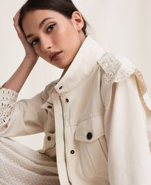 "Canvas jacket with broderie anglaise ""Dune"" Beige Woman 201TP2011-05"
