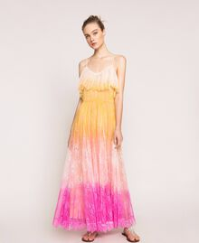 Tie-dye lace long dress Multicolour Tie Dye Pink Woman 201TT2282-04