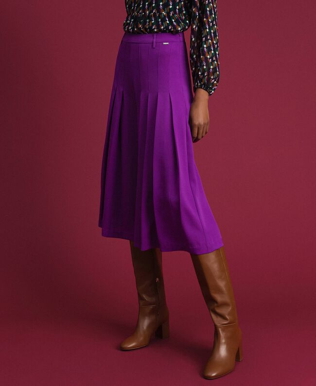 Trouser-skirt with pleats and logo Purple Woman 192ST2164-01