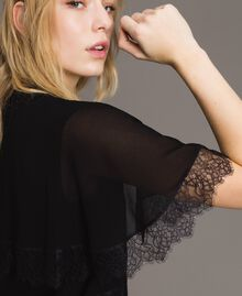Georgette and lace shrug Black Woman 191TP2373-01