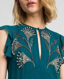 Maxikleid aus Georgette mit floralen Stickereien Hellblau Mineralgrün Frau 192TP2161-05