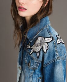 Denim jacket with floral patch Bleached Shades Woman 191TT2050-01