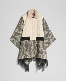 Camouflage wool cloth and bouclé cape Camouflage Jacquard Woman 192TT2503-0S