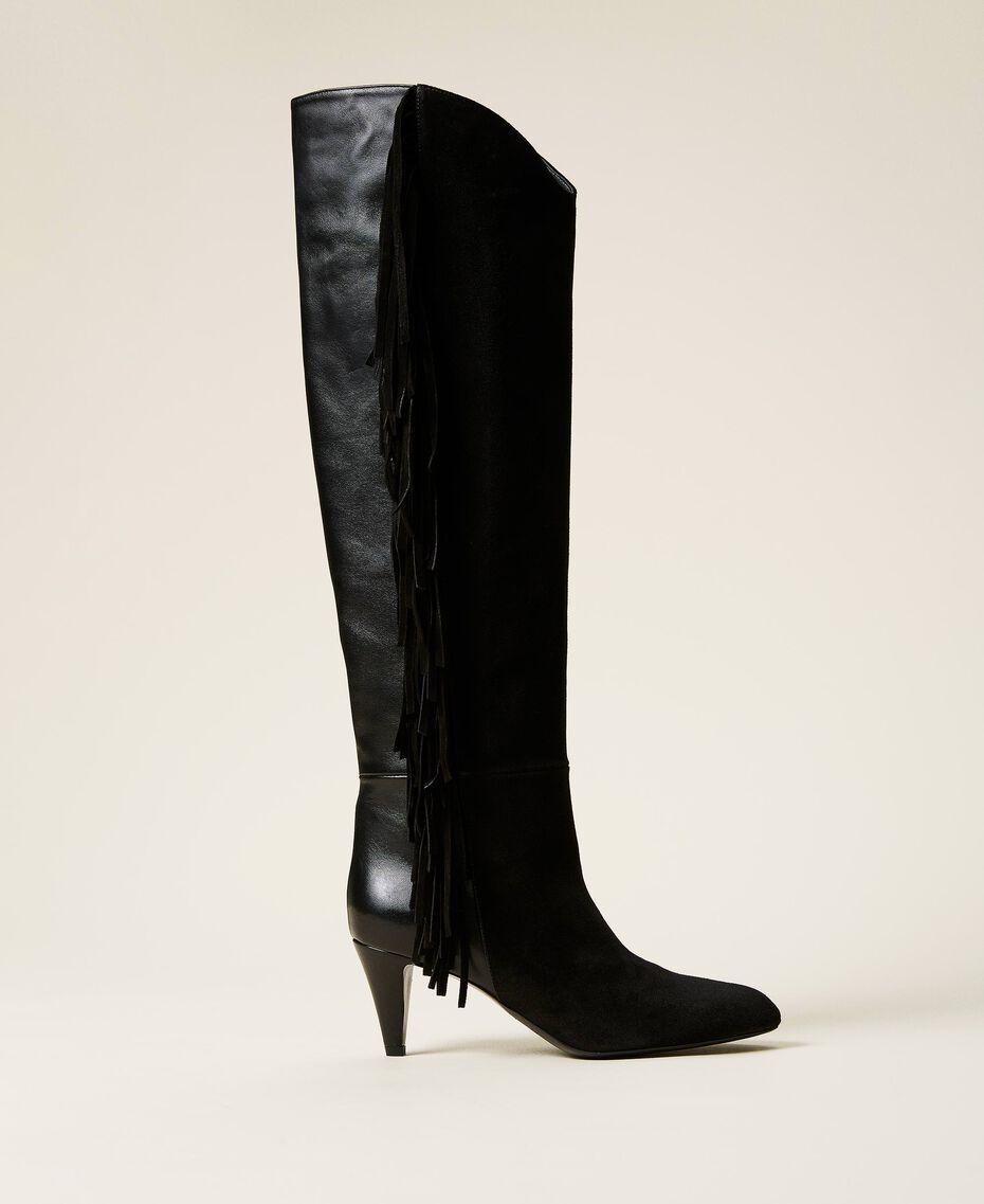 Bottes montantes en cuir avec franges Noir Femme 212TCP10C-01
