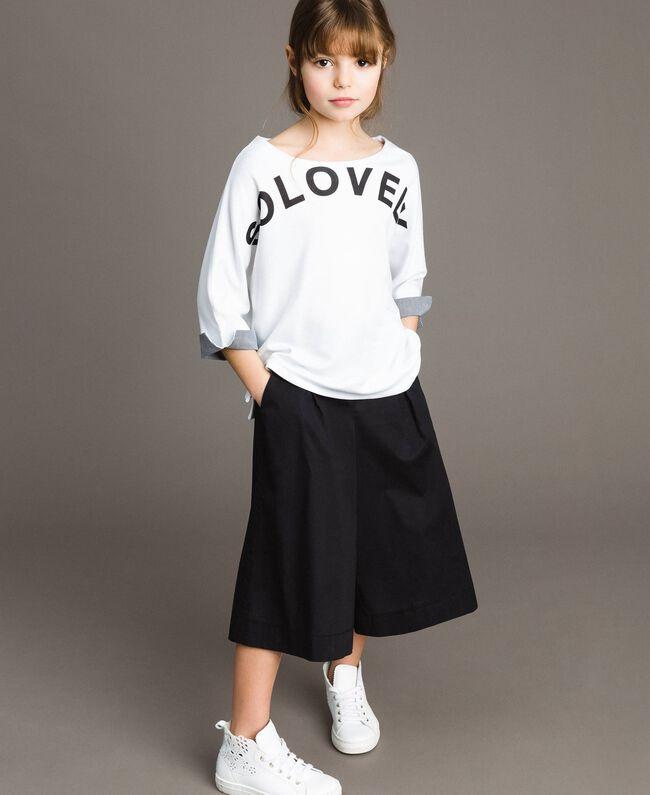 Pullover aus Milano-Strick mit Gingham-Details Zweifarbig Optisch Weiß / Gingham Kind 191GJ2732-0T
