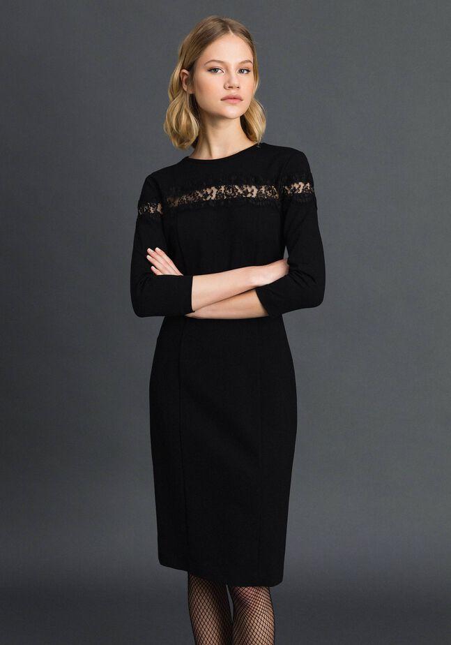 Sheath dress with lace inlay