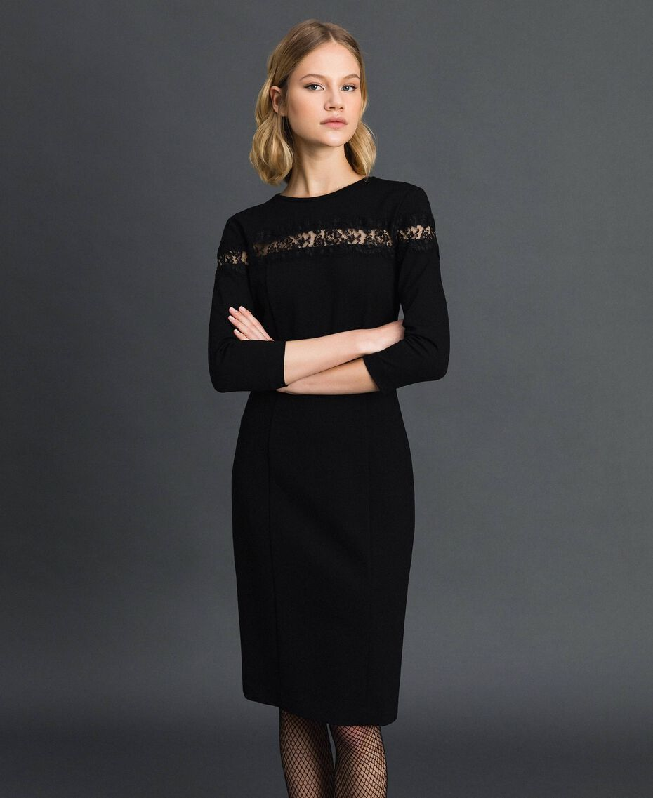 Sheath dress with lace inlay Black Woman 192TP2093-01