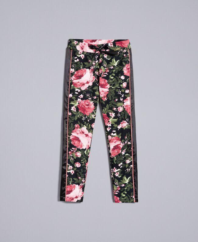 Pantalon en piqué imprimé Imprimé Roses / Noir Enfant GA82RU-01