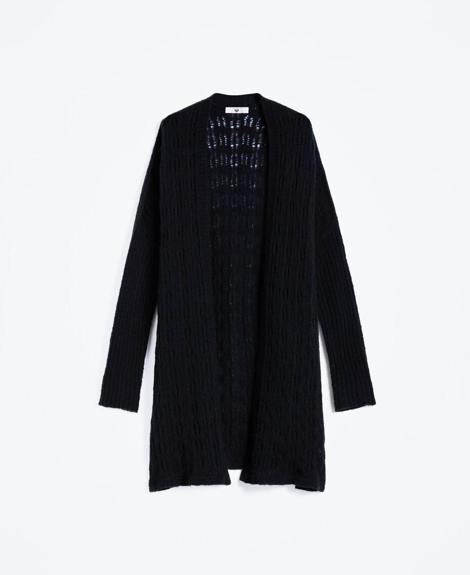 Maxi cardigan en laine mélangée Noir Femme LA8PAA-01