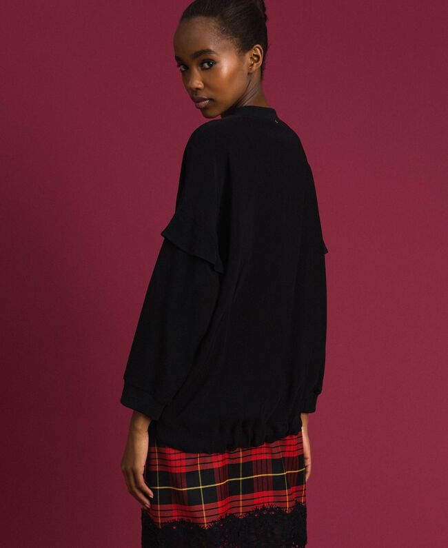 Georgette blouse with drawstring Black Woman 192TP2381-03