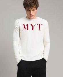 """Pull en crêpe de coton avec logo Bicolore Blanc Opaque / Rouge """"Framboise Foncé"""" Homme 191UT3040-01"""