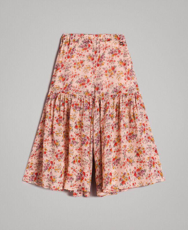 Floral georgette trouser skirt Mini Flowers Print Child 191GB2800-01