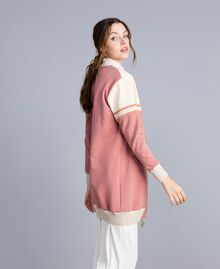 "Long bomber jacket with sequin yoke ""Baroque Rose"" Pink Woman IA86BB-02"