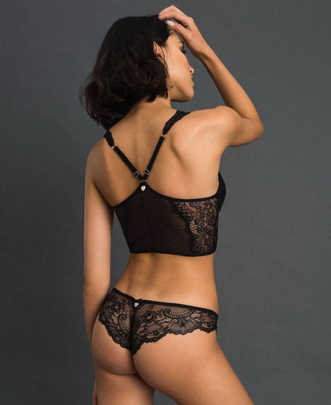 Culotte brésilienne en dentelle lamée Noir Femme 192LL6H77-03