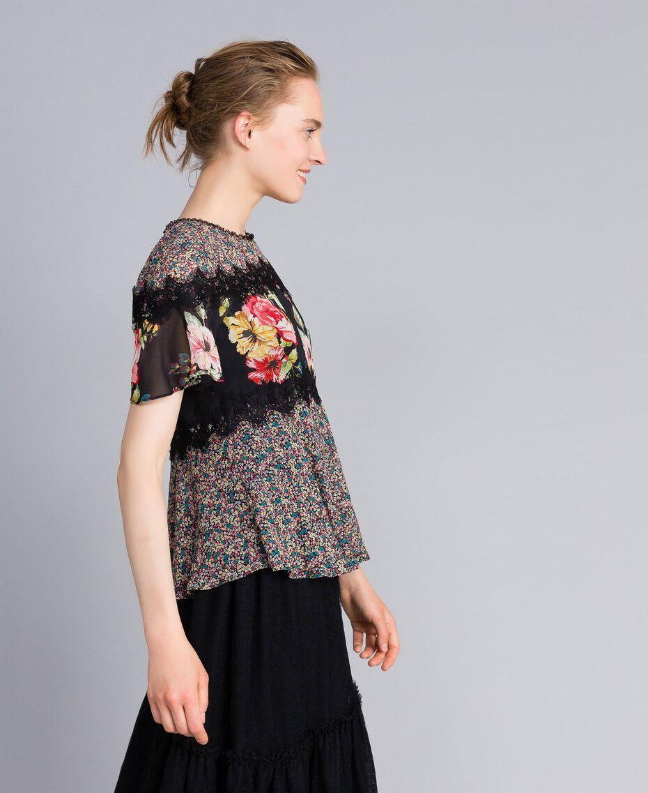 Blouse en crêpe georgette avec imprimé floral Imprimé Fleur Patch Femme PA82MH-02