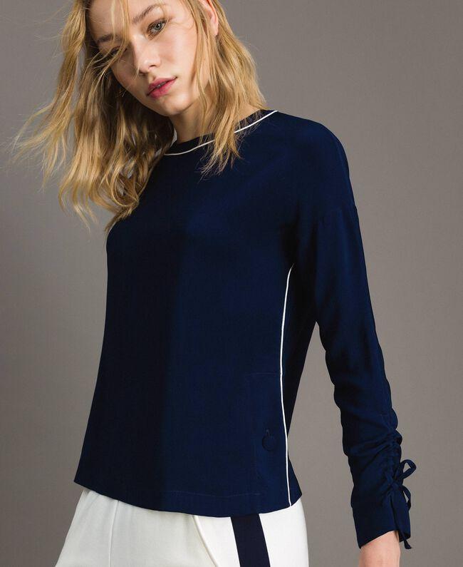 Viskose Georgette-Bluse Midnight-Blau Frau 191TP2321-05