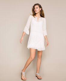 Robe en crêpe georgette avec broderies et dentelle Blanc Antique White Femme 201TT2082-05