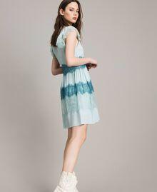 "Georgette and lace dress Two-tone Mikonos Light Blue / ""Aquamarine"" Light Blue Woman 191TP2772-01"