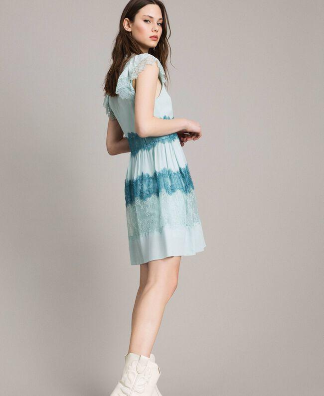 """Robe en georgette et dentelle Bicolore Bleu Clair Mikonos / Bleu Clair """"Aigue Marine"""" Femme 191TP2772-01"""