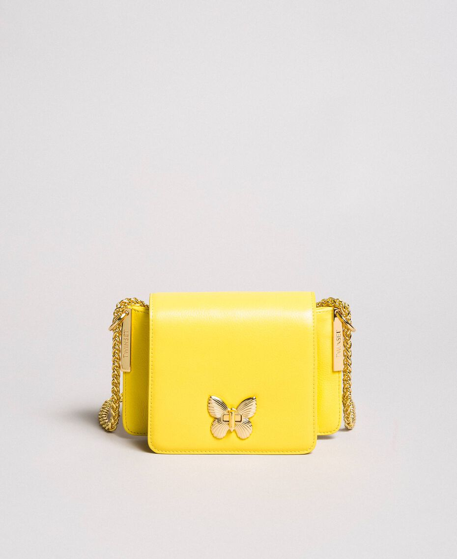 Petit Bea Bag à bandoulière en cuir Jaune Papillon Femme 191TA7142-02