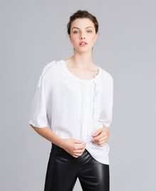 Blouse en soie et jersey avec ruches Blanc Femme PA82DC-01