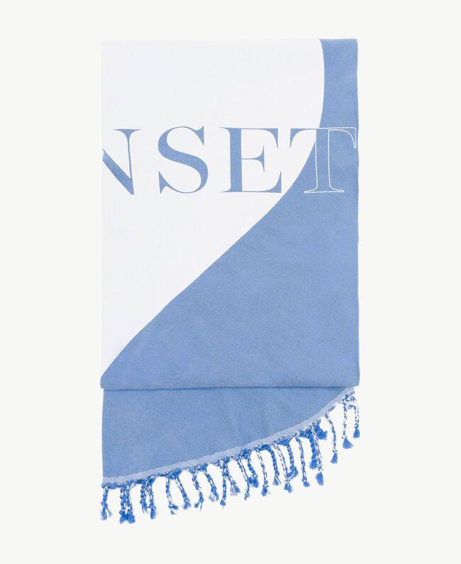 Strandtuch mit Fransen Zweifarbig Lagunenblau / Optisches Weiß Frau MS8ZGG-01
