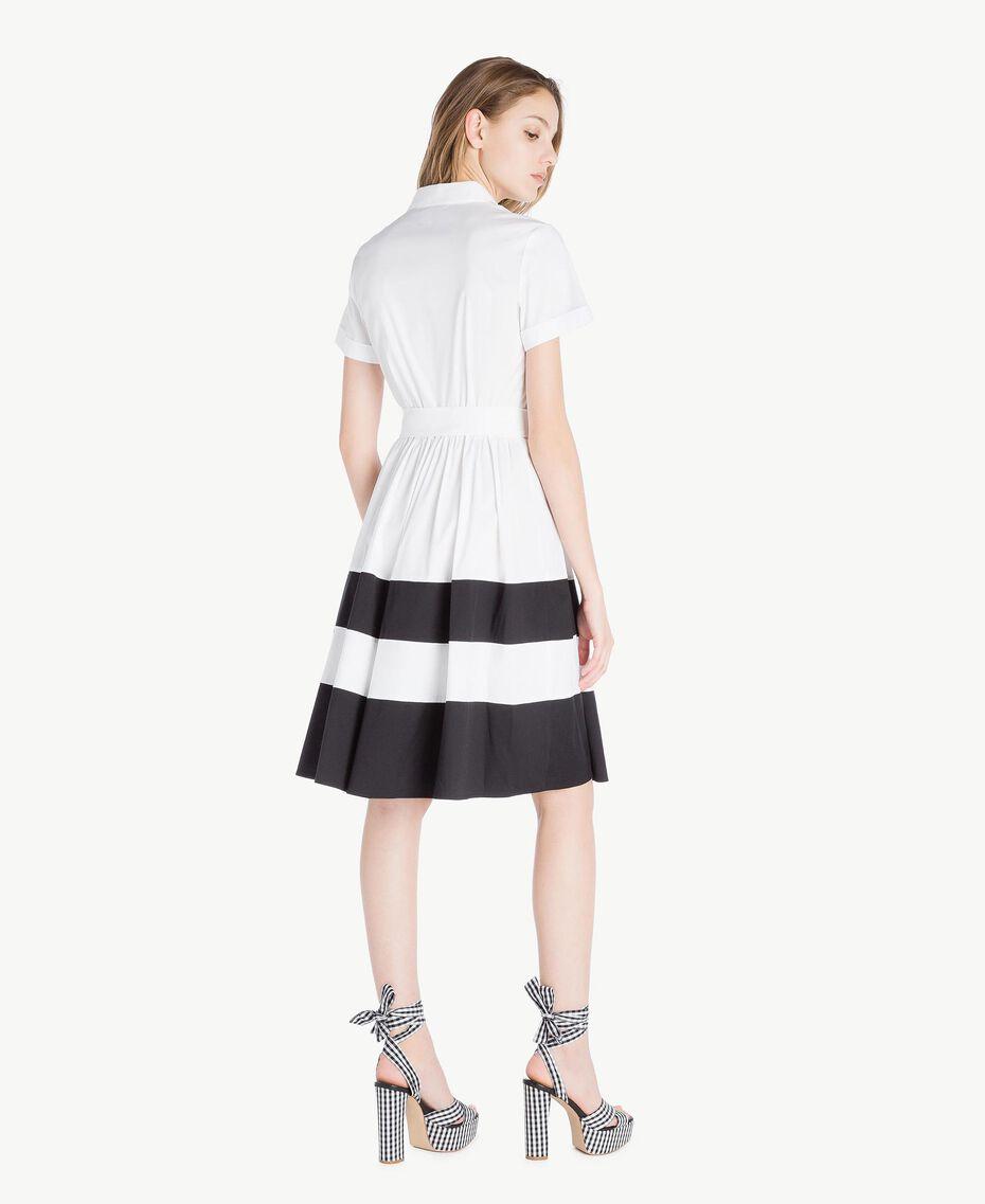 Robe chemisier popeline Blanc Optique / Noir Femme YS82FC-03