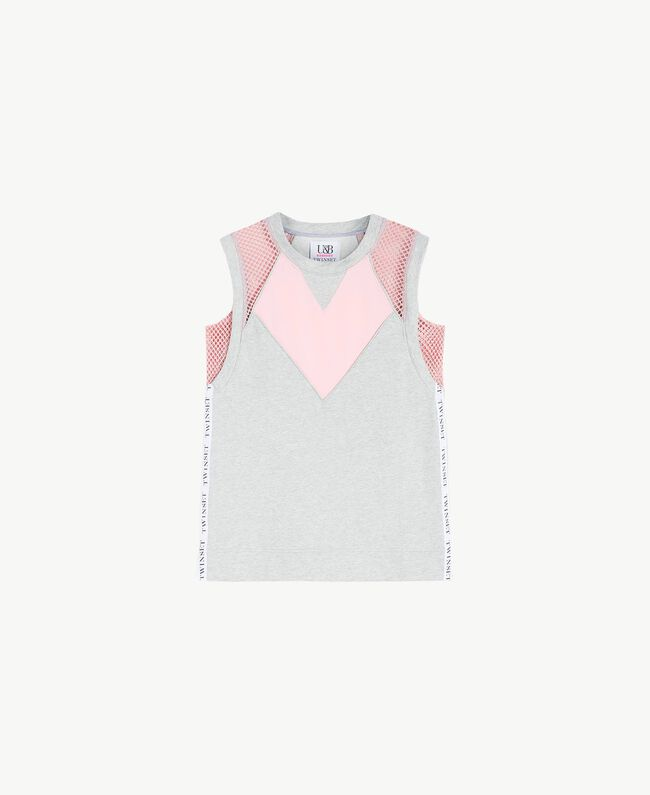 Heart-motif tank top Two-tone Mid Melange Grey / Pinkie Sugar Woman LS87CC-01