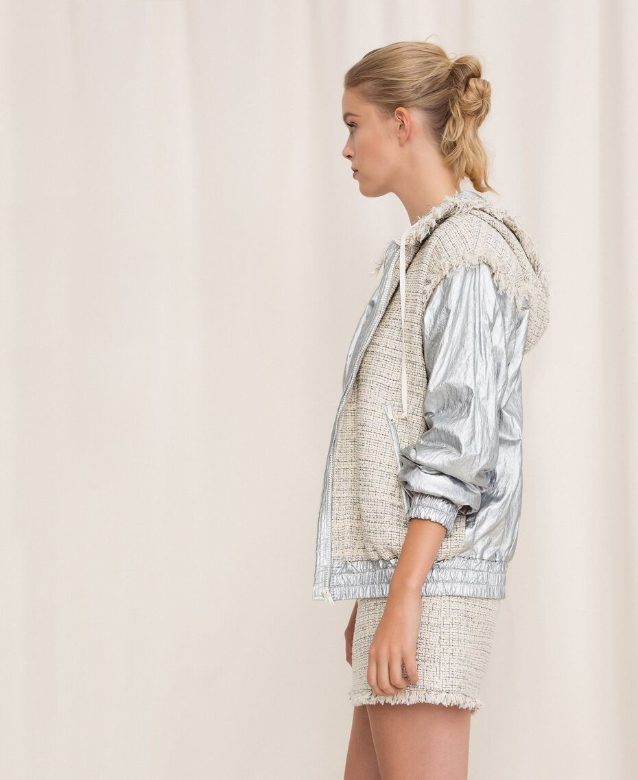 Laminated bomber jacket with bouclé fabric Multicolour Ivory / Silver Grey Woman 201TP2220-02