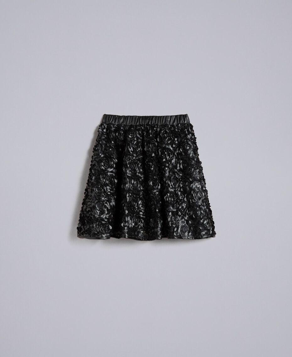 Jupe en similicuir avec roses Noir Femme JA82DP-0S