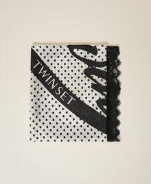Heart motif print and lace kefiah Cream White / Black Heart Print Woman 202MA432H-01