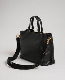 Petit cabas en cuir à bandoulière Noir Femme 192TO8091-03