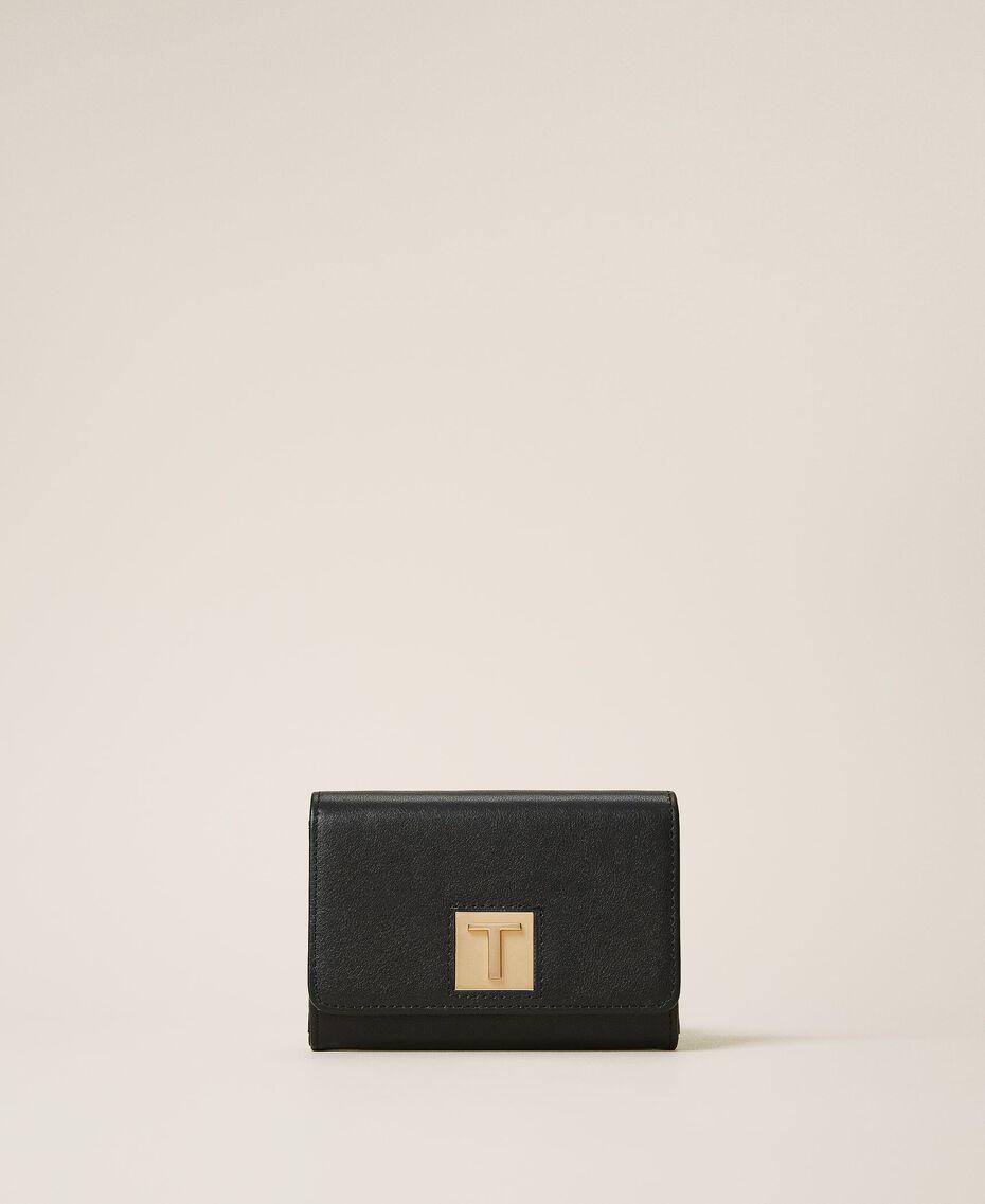 Portefeuille en cuir avec rabat Noir Femme 202TD8043-02
