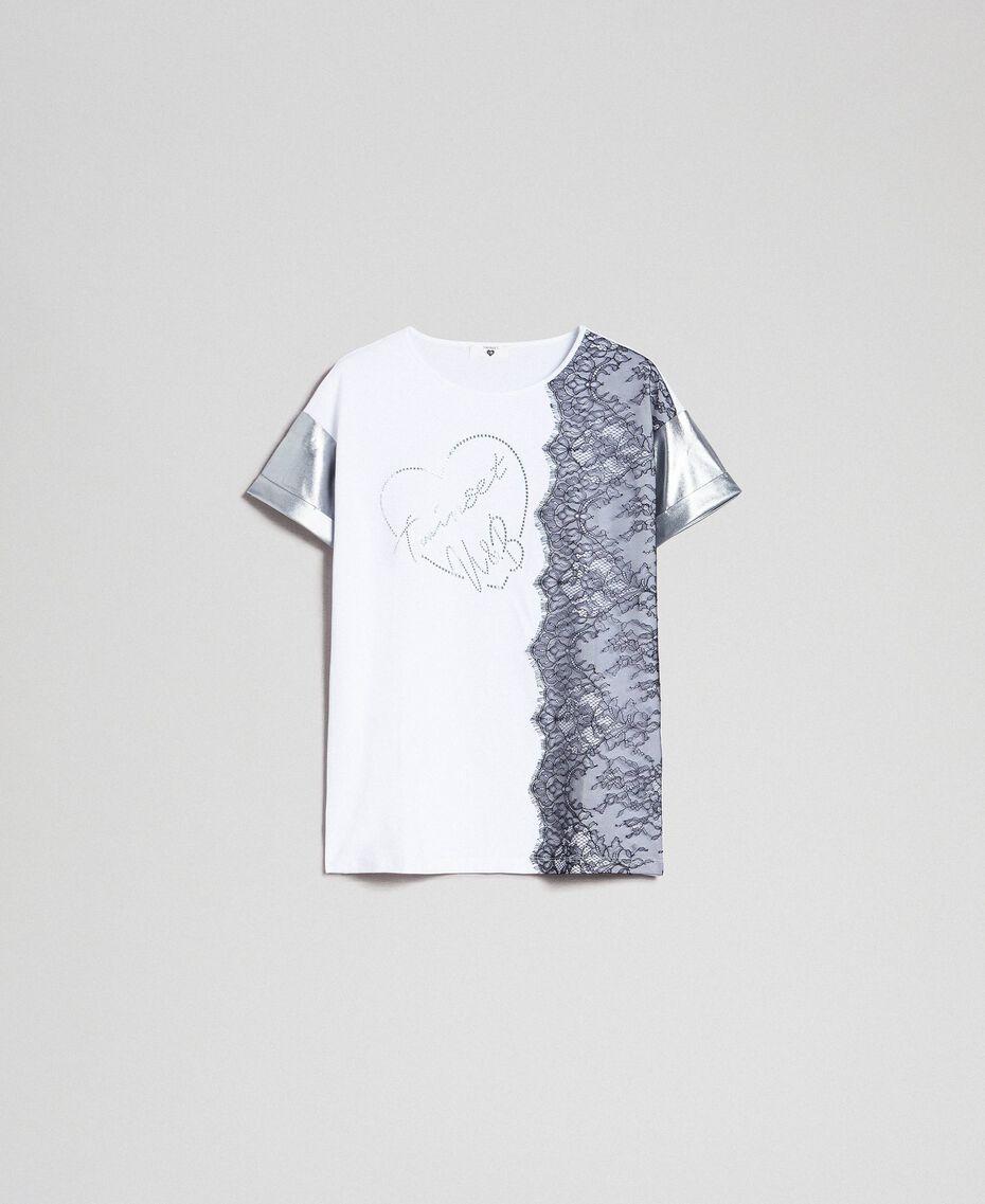 Lace and micro studs T-shirt Black / Optical White Woman 192LI2WAA-0S