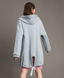 Fleece parka with bezels and rhinestones Light Gray Mélange Woman 191MP2321-03