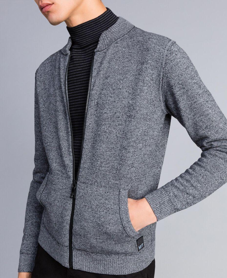 Cardigan in cotone e lana con zip Bicolor Bianco Opaco / Nero Uomo UA83BA-01