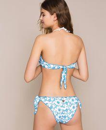 Tanga de bain en broderie anglaise Bicolore Bleu «Bay» / Blanc Optique Femme 201LMML88-03